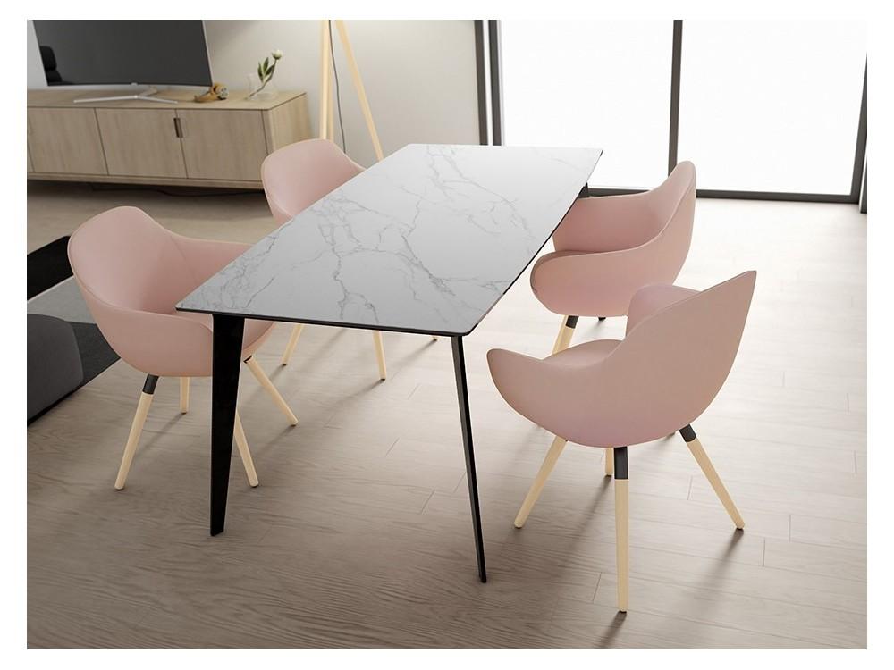 Mesa de comedor Infinity con encimera en cristal o porcelánico
