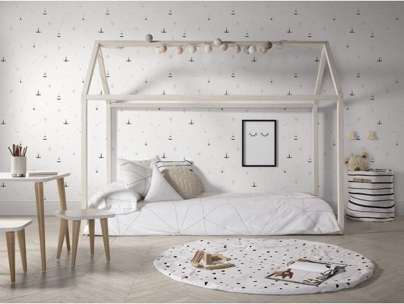 Cama casita para colchón de 90x190 natural