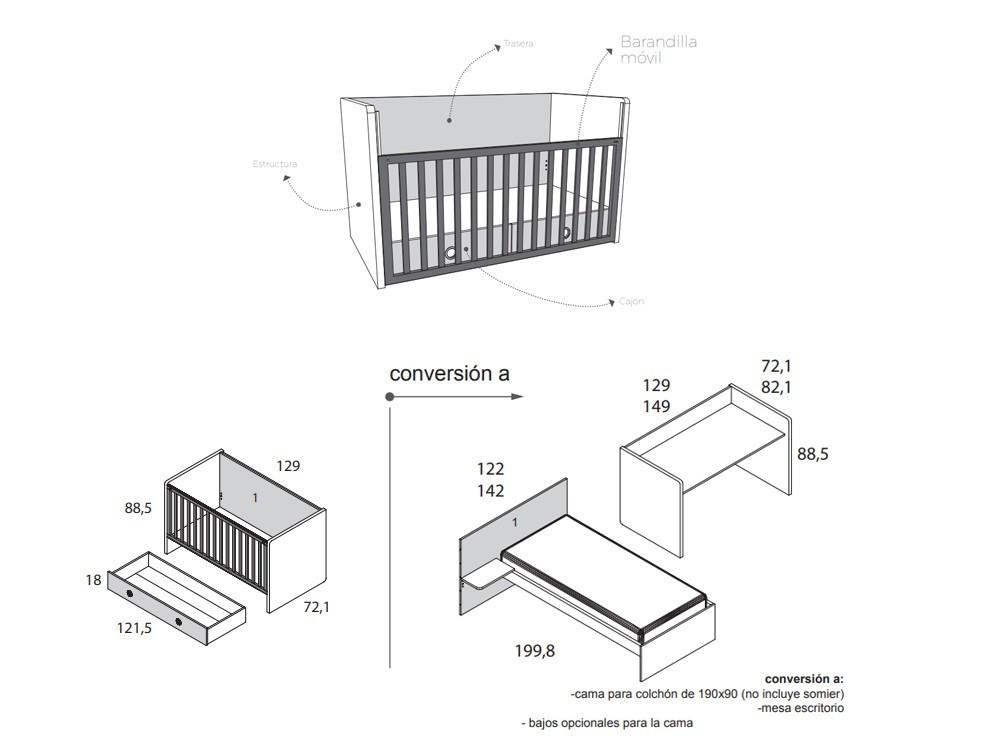 Medidas Cuna 60x120 con cajón convertible en camita de 90x190cm Nano