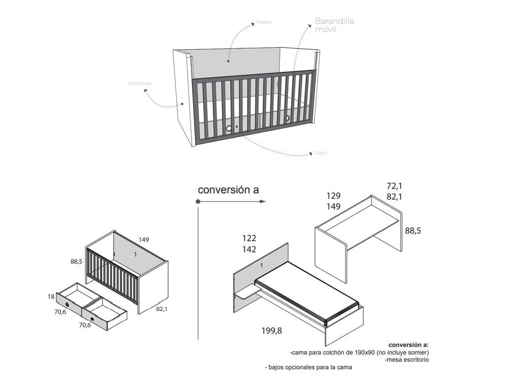 Medidas Cuna 70x140 con cajón convertible en camita de 90x190cm Nano