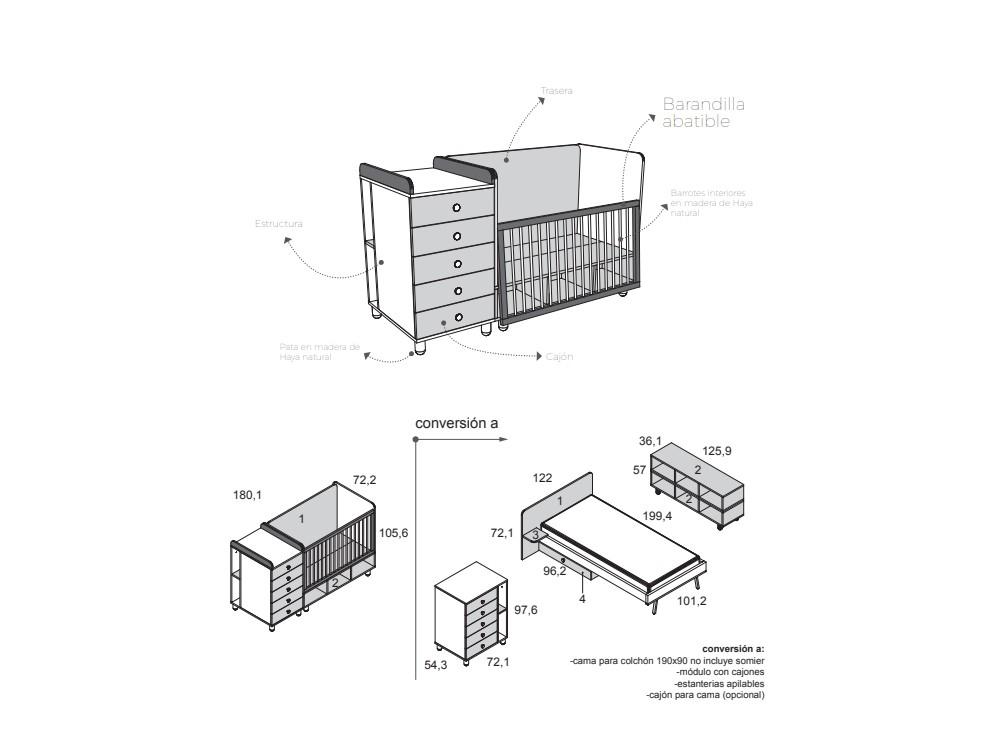Cuna convertible en cama de 90x190cm Cube personalizable