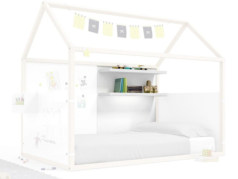 Panel para cama casita con estantería en color blanco