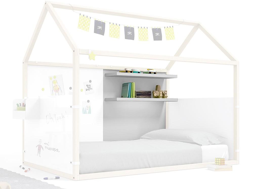 Panel para cama casita con estantería en color gris perla