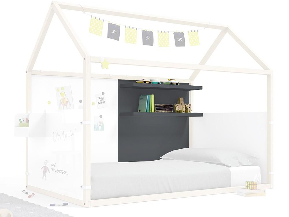 Panel para cama casita con estantería en color gris pizarra