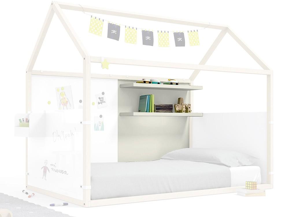 Panel para cama casita con estantería en color tierra