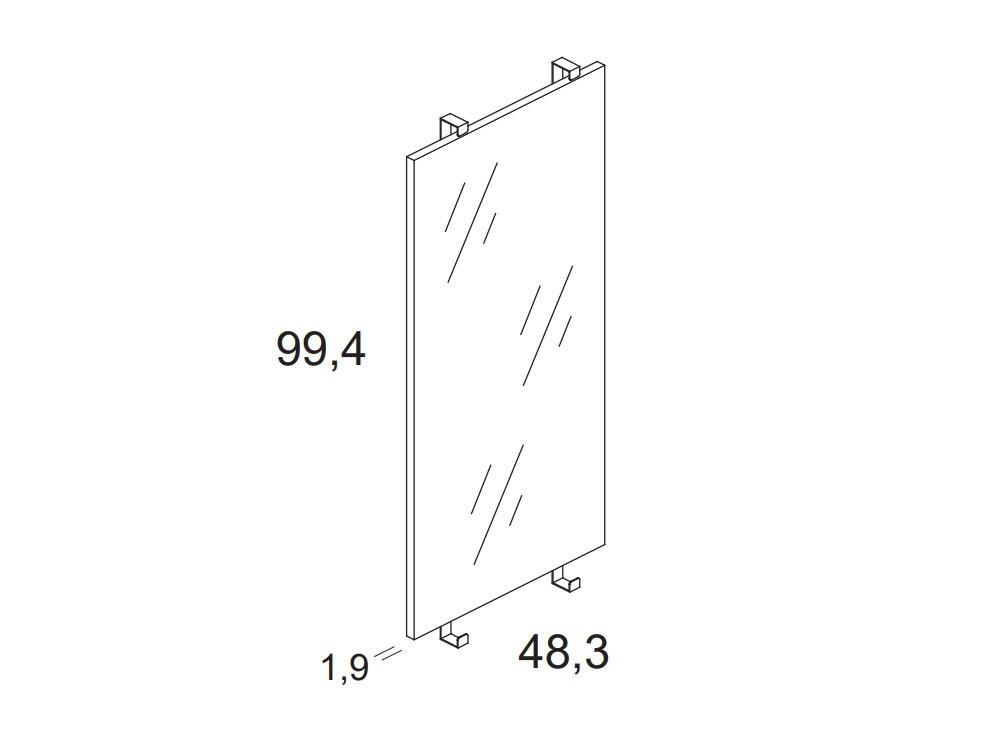 medidas Panel frontal en acabado espejo para cama casita de 90x190cm