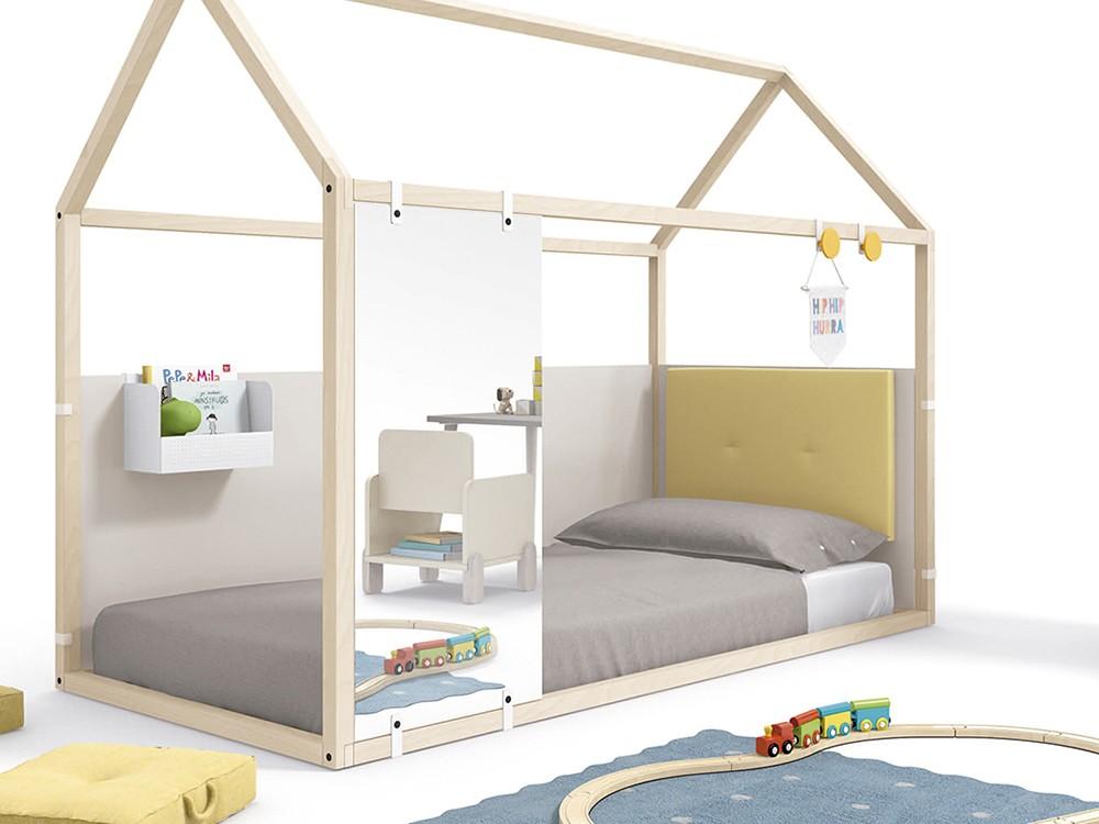 Panel frontal en acabado espejo para cama casita de 90x190cm