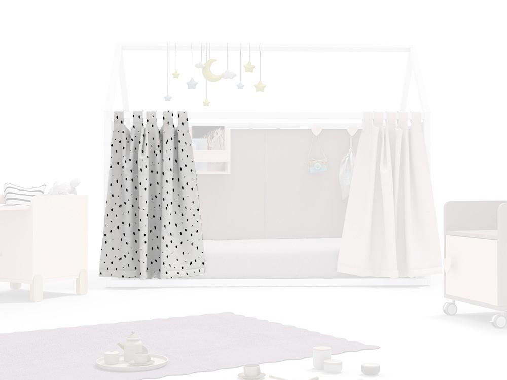 Cortina para cama casita acabado dots blanco