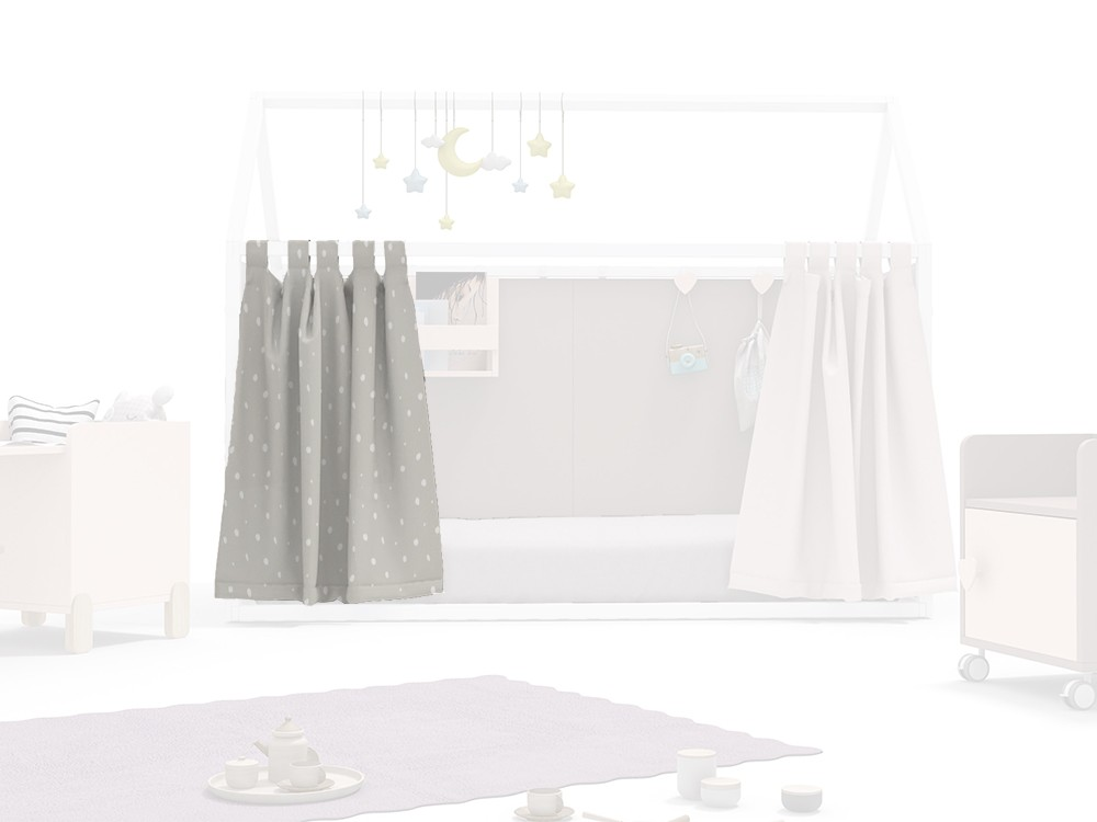 cortina para cama casita acabado dots caliza