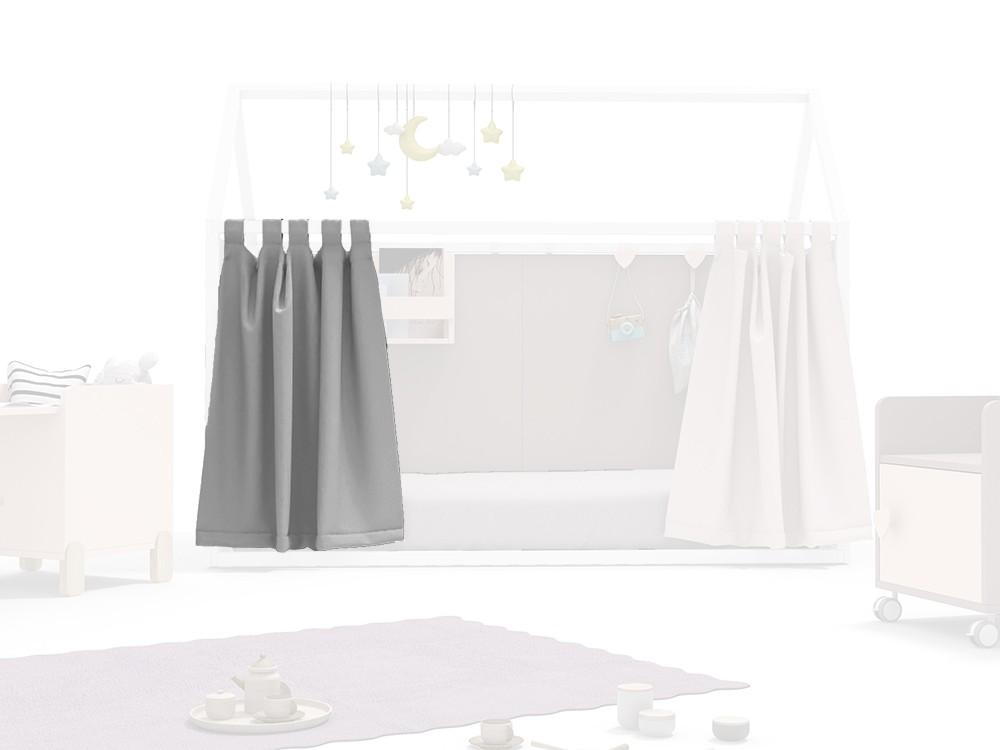 Cortina para cama casita en color gris