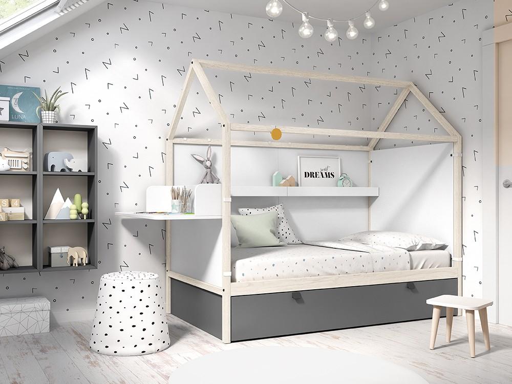 Panel cabecero con escritorio para cama casita