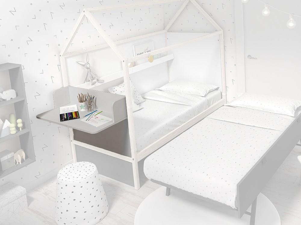 Panel cabecero con escritorio para cama casita color gris perla
