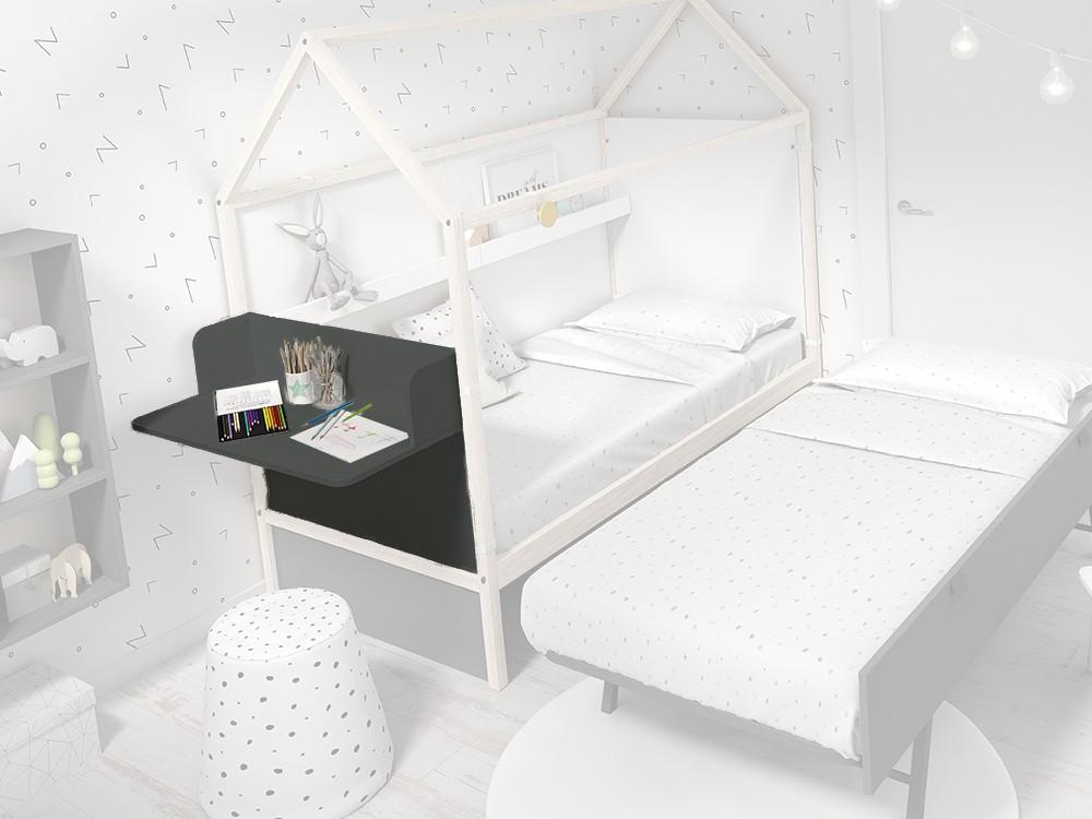 Panel cabecero con escritorio para cama casita color gris pizarra