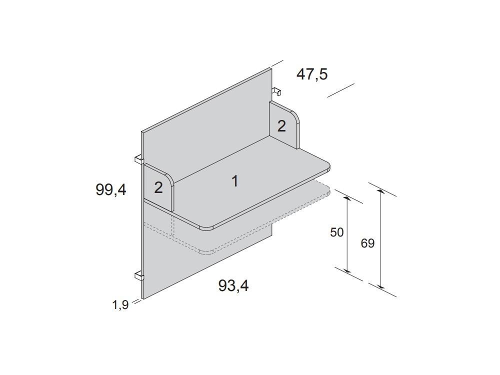 Medidas panel cabecero con escritorio para cama casita