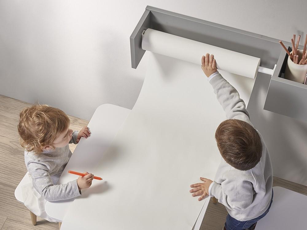 Porta-rollo de papel continuo con estante gris arcilla