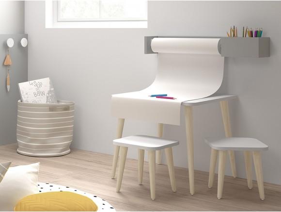 Porta-rollo de papel continuo con estante blanco