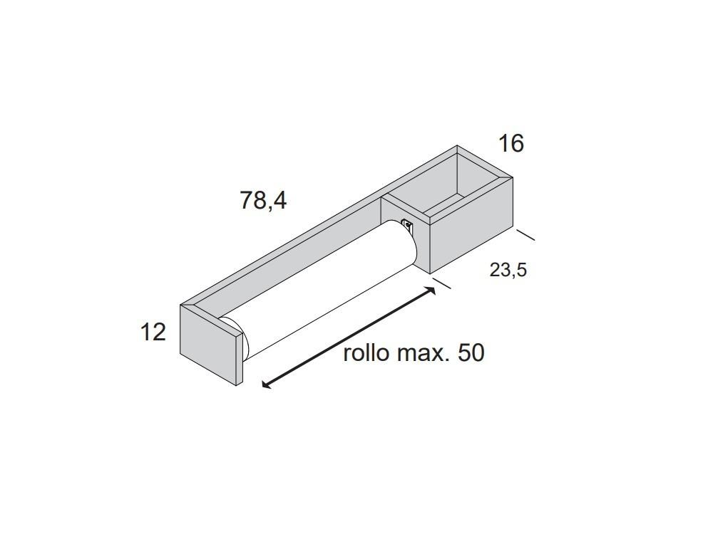 Medidas Porta-rollo de papel continuo con estante
