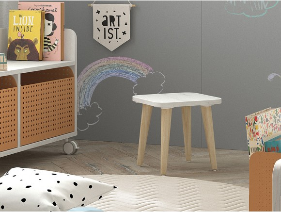 Taburete infantil cuadrado ros mini mood color blanco