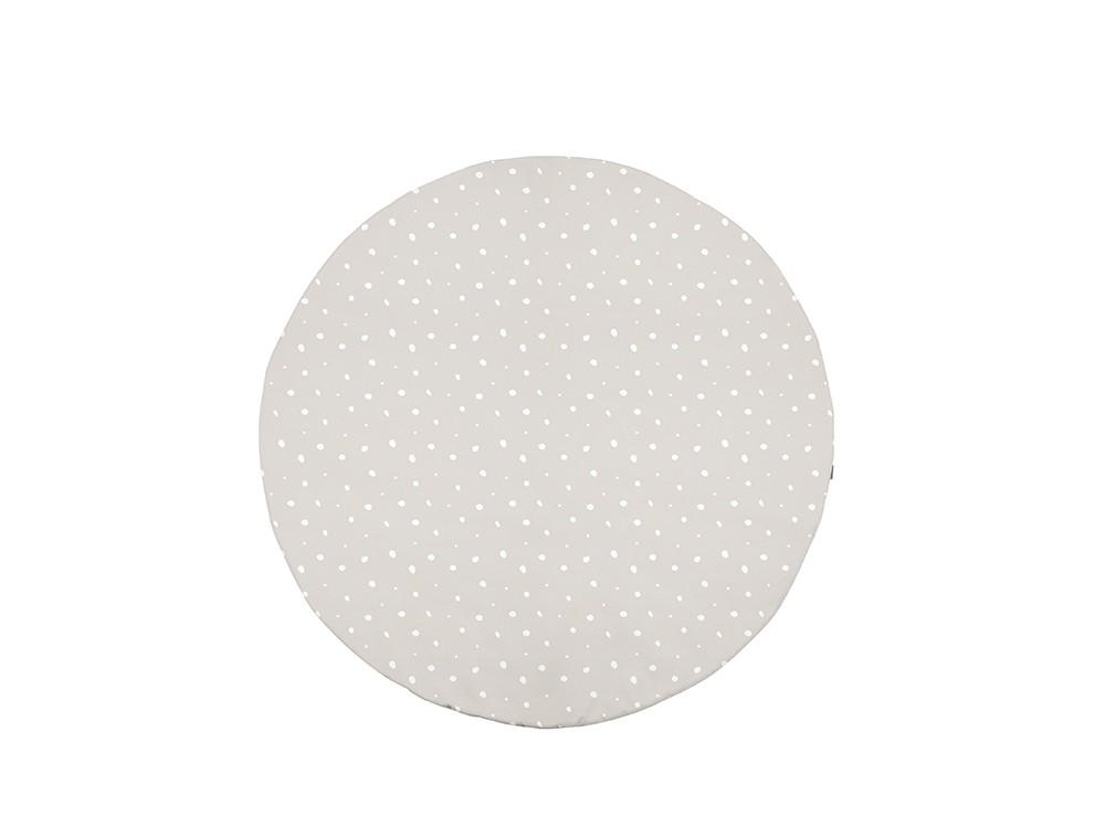 Alfombra redonda de algodón modelo Dots caliza