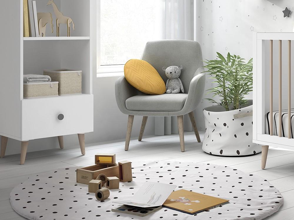 Alfombra redonda de algodón modelo Dots blanco