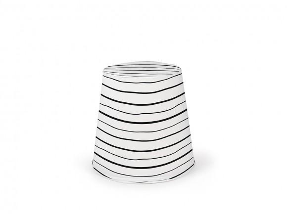 puff cónico de espuma con tapizado en tejido panamá lines blanco