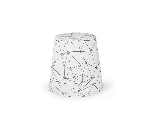puff cónico de espuma tapizado en tejido panamá origami blanco
