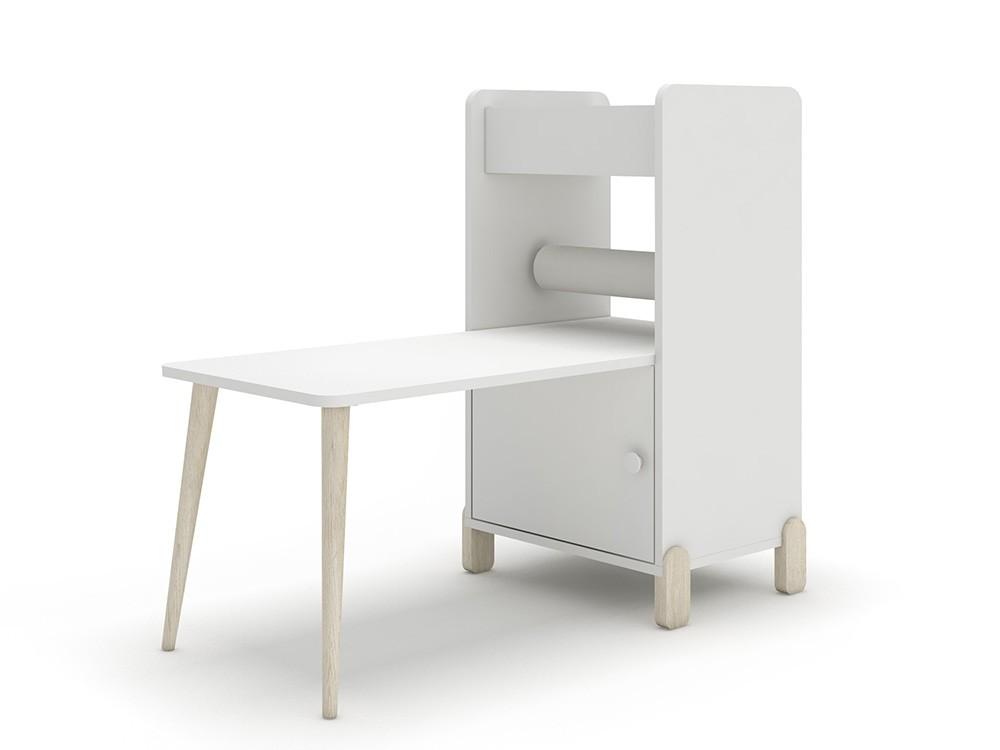 Estantería con escritorio y porta-rollo de papel continuo mini mood ros blanco