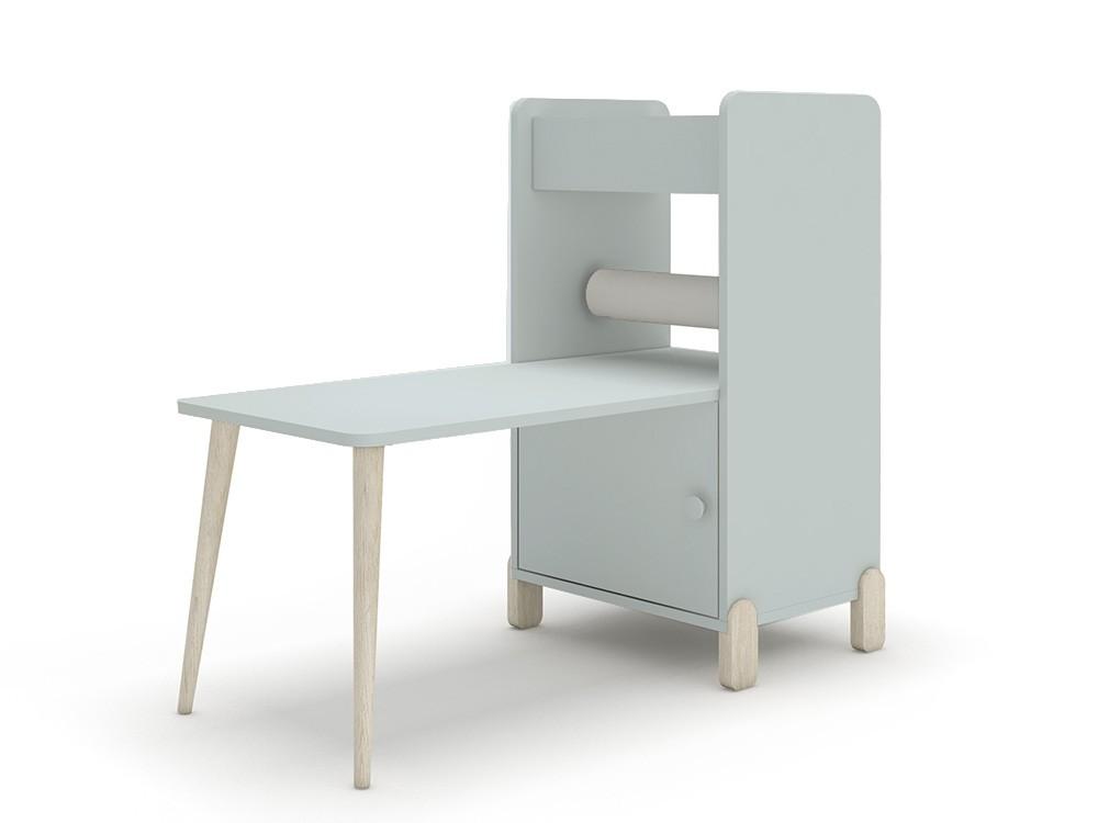 Estantería con escritorio y porta-rollo de papel continuo mini mood ros celeste