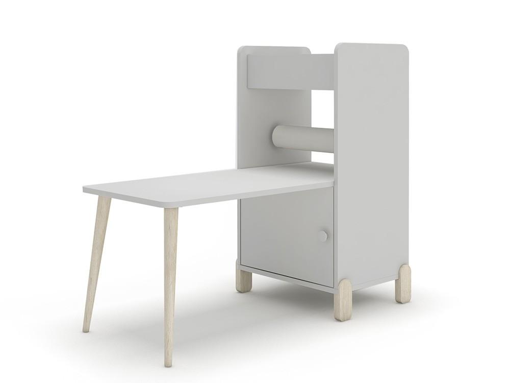 Estantería con escritorio y porta-rollo de papel continuo mini mood ros gris perla