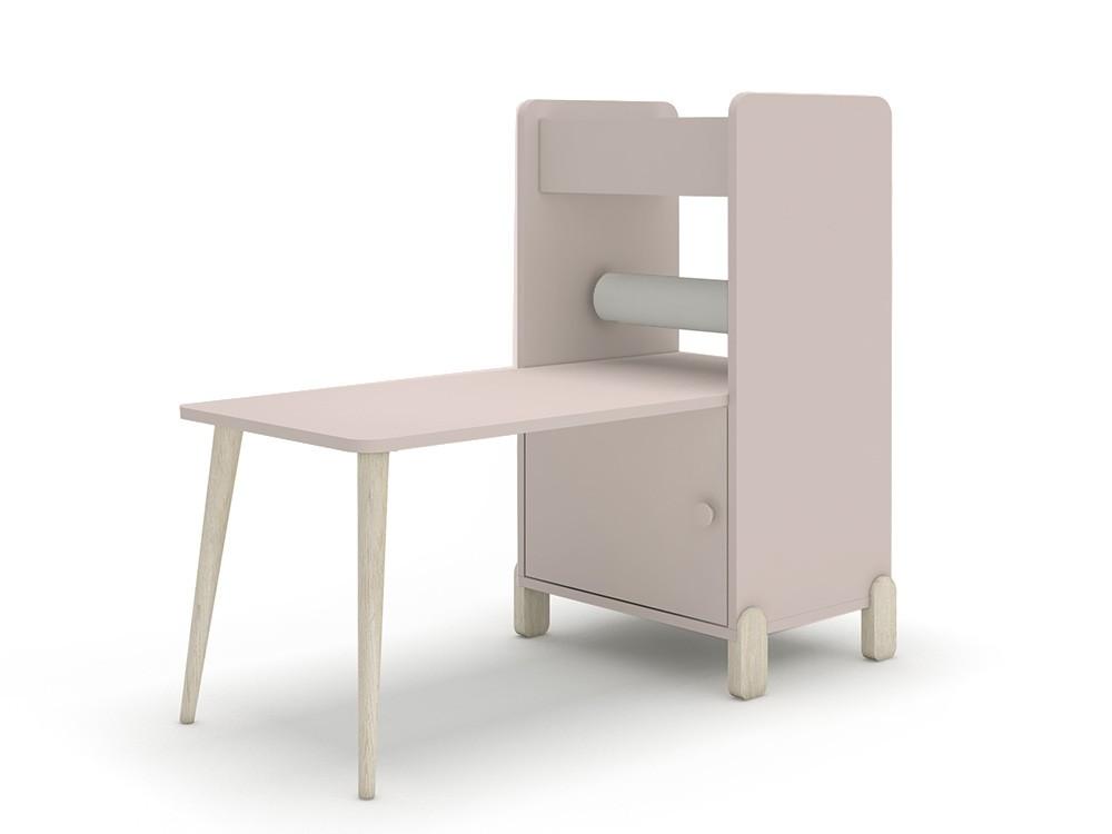 Estantería con escritorio y porta-rollo de papel continuo mini mood ros rosa