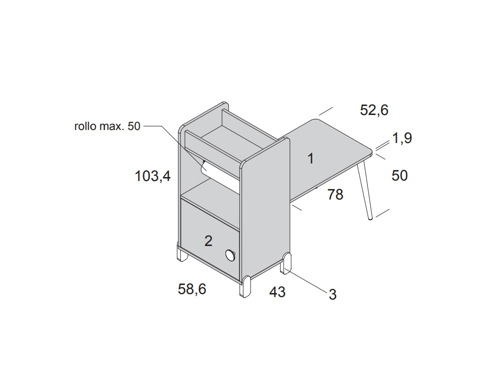 Estantería con escritorio y porta-rollo de papel continuo Ros Mini - 10