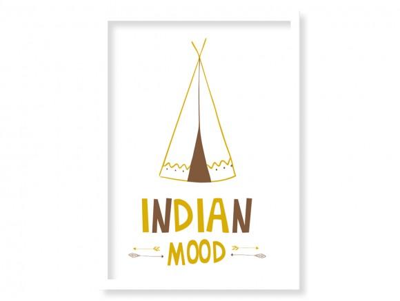 Cuadro indian mood vertical con marco ónix