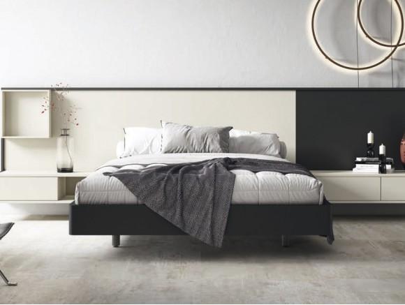 Dormitorio moderno con cabecero colgado Wall y mesitas de noche  Diversa Noche de mesegué