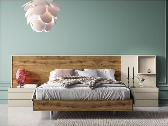 Composición de dormitorio con cabecero Ever a suelo en chapa natural rustic Diversa de Mesegué