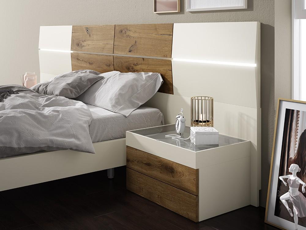composición con cama con cabezal trap con luces led en chapa rustic y sepia Diversa de Mesegué