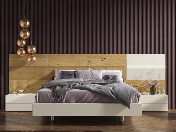 composición con cama con cabezal trap en chapa oak nudos y sepia Diversa de Mesegué