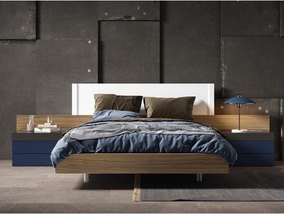 Dormitorio con estructura de cama con cabecero Hermes y mesitas Top Diversa