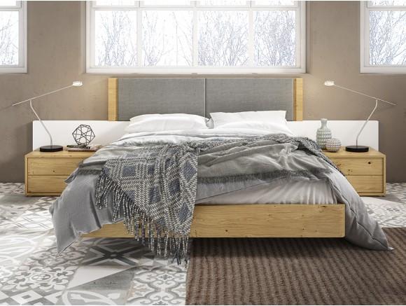 Dormitorio con estructura de cama con cabecero Hermes y mesitas Bed Diversa