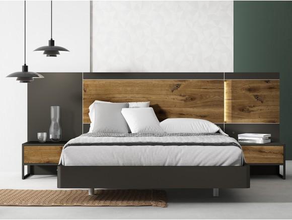 Dormitorio con bañera curva para somier de 150x190cm, cabezal Mino y mesitas de noche Cubo Diversa de Mesegué