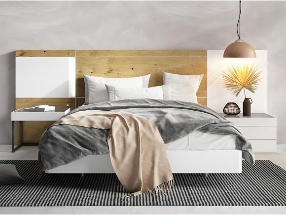 Dormitorio con bañera curva para somier de 150x190cm, cabezal Mino y mesitas de noche Top Diversa de Mesegué