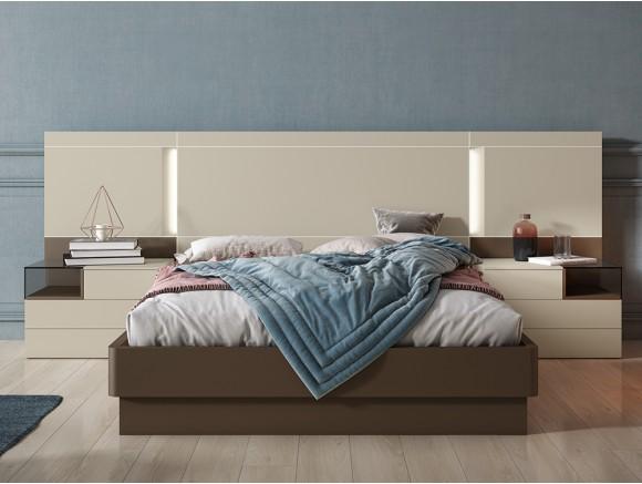 Dormitorio con bañera curva para somier de 150x190cm, cabezal Mino y mesitas de noche Box Diversa de Mesegué