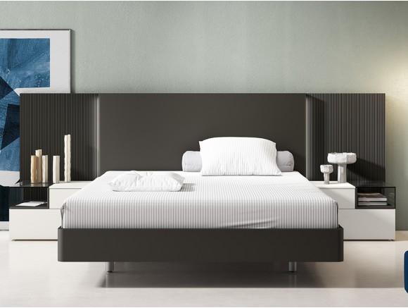 dormitorio wall con luces led para cama de 150x190cm con mesitas box diversa de mesegué