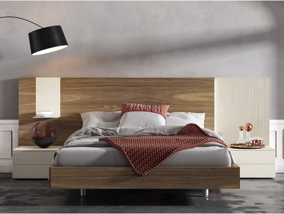 dormitorio wall asimétrico para cama de 150x190cm con mesitas recto diversa de mesegué