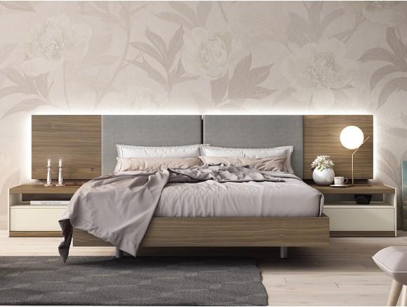 Dormitorio con cama 150x190cm, cabecero luca tapizado con luz led perimetral y dos mesitas lyon Diversa Mesegué
