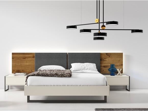 Dormitorio con cama 150x190cm, cabecero luca tapizado con luz led perimetral y dos mesitas Cubo Diversa Mesegué