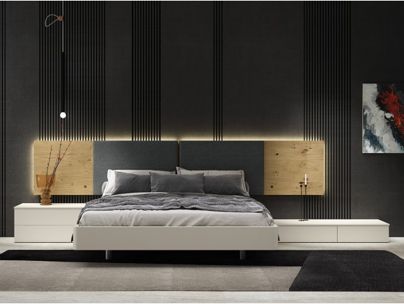 Dormitorio con cama 150x190cm, cabecero luca tapizado con luz led perimetral y dos mesitas Recto Diversa Mesegué