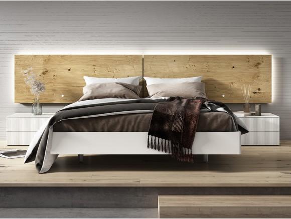 Dormitorio con cama 150x190cm, cabecero luca con luz led perimetral y dos mesitas W Diversa Mesegué