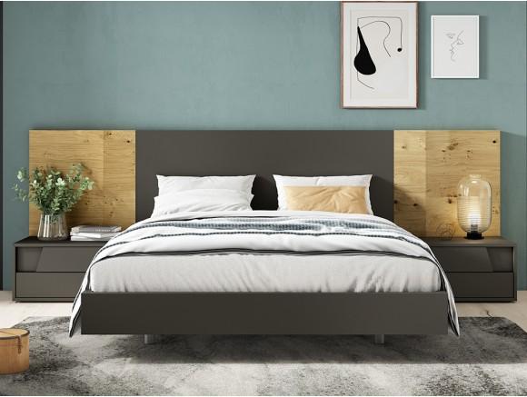 Dormitorio con cabecero tempo en chapa oak nudos y sombra y dos mesitas de noche diagonal Diversa de mesegué