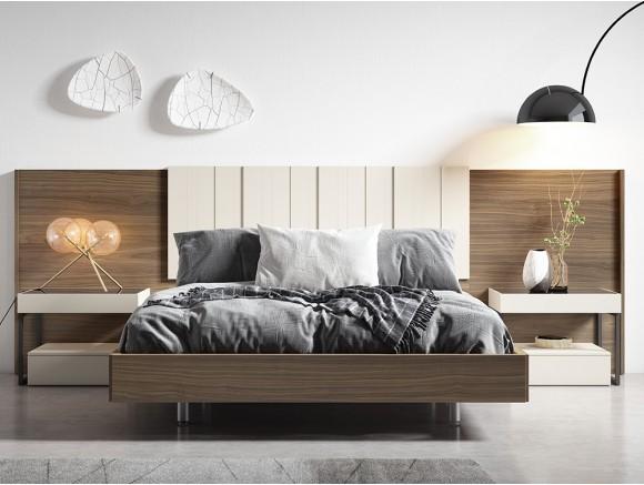 Dormitorio con estructura de cama, cabecero Legan en chapa nogal y laca sepia y mesitas de noche Top metal diversa de mesegué