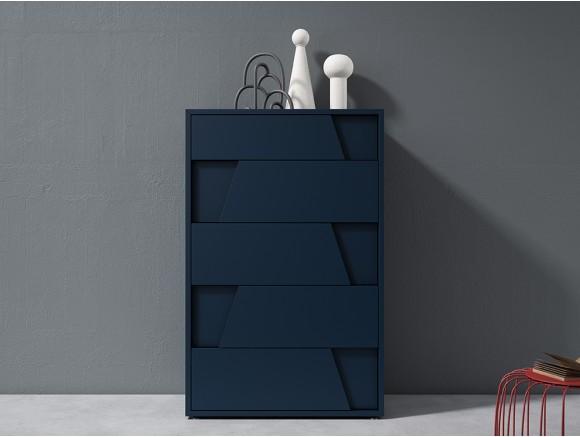 Sifonier con cinco cajones modelo Diagonal lacado en blue en dos medidas diversa de mesegue